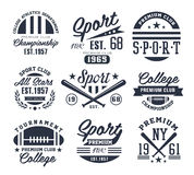 Emblemi monocromatici di sport, etichette, distintivi, logos Immagini Stock