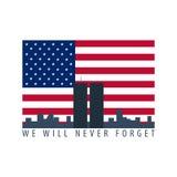 Emblemi o logo di giorno del patriota 11 settembre Non dimenticheremo mai immagini stock