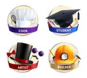 Emblemi realistici dei cappelli differenti di professioni illustrazione vettoriale
