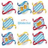 Emblemi rotondi dei forconi di Monaco di Baviera Oktoberfest messi Fotografia Stock