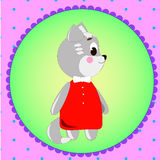 Emblemkarte mit netter Karikatur Katze Lizenzfreie Stockbilder