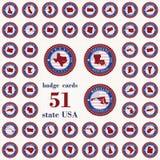 Emblemkort av statliga USA Royaltyfri Foto
