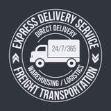 Emblemmall av den snabba leveranslastlastbilen Frakttrans.etikett Arkivbild