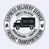 Emblemmall av den snabba leveranslastlastbilen Frakttrans.etikett Arkivfoton
