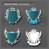 EMBLEMS. Silver Emblems and Insignia blank templates Royalty Free Stock Image