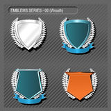EMBLEMS. Silver Emblems and Insignia blank templates Stock Photo