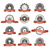 Emblems, badges and stamps with ribbons - awards and seals Stock Photography