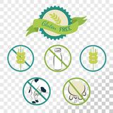 Gluten free labels collection isolated on transparent background. Emblems for caution for people with allergies Stock Photos
