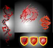 Emblems and dragons red color isolated Royalty Free Stock Image