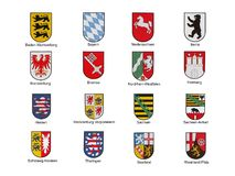 Emblems of german federal lands. Isolated with text Stock Photos