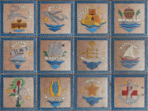 Emblems of the Greek islands Stock Image