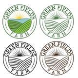 emblems green fields farm Stock Photo