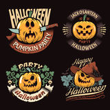 Emblems with Halloween pumpkin. In a vintage style. Vector illustration Stock Image
