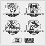 Emblems and icons of mobile games and apps. Vector Royalty Free Stock Images