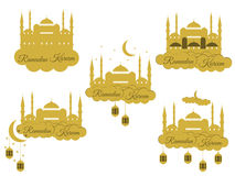 Emblems for islamic holiday Ramadan. Ramadan Kareem, blue mosque, minaret, lantern and moon, muslim holiday lights. Royalty Free Stock Photo