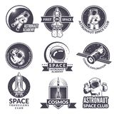 Emblems, labels or logos of space theme with illustrations of space and astronauts stock illustration