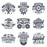 Emblems retro vintage race and super cars Stock Photos