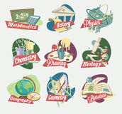 Emblems of school subjects Stock Images