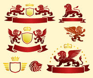 Emblems Set with Heraldic Lions Royalty Free Stock Photos