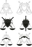Emblems - symbols of law, order, justice, court stock photo