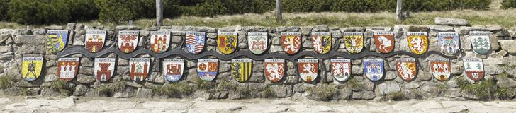 Emblems of towns along Labe river Royalty Free Stock Images