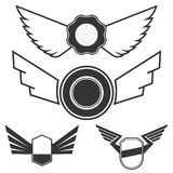 Emblems with wings Stock Photo