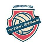 Emblemschablone mit Volleyballball Gestaltungselement für Logo, Aufkleber, Zeichen lizenzfreie stockfotografie