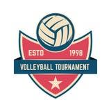 Emblemschablone mit Volleyballball Gestaltungselement für Logo, Aufkleber, Zeichen lizenzfreie stockfotos