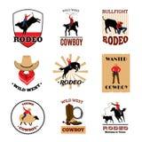 Emblemuppsättning av rodeon royaltyfri illustrationer