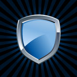 Emblème bleu lustré d'écran protecteur Images libres de droits