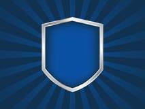 Emblème d'écran protecteur bleu et argenté sur le fond noir Images libres de droits
