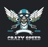 Emblème de crâne de cycliste Photo libre de droits