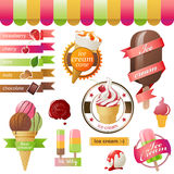 Emblèmes de crème glacée  Images stock