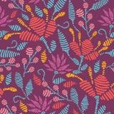Emboridered bloeit Naadloze Patroonachtergrond Royalty-vrije Stock Afbeelding