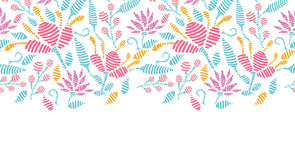 Emboridered garden horizontal seamless pattern Royalty Free Stock Photos