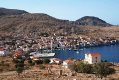 Emborio harbour, Halki Royalty Free Stock Photos