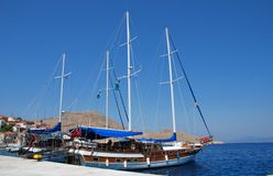 Emborio harbour, Halki Royalty Free Stock Photo