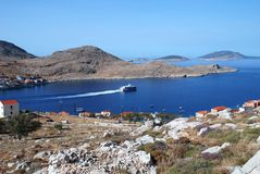 Emborio harbour, Halki island Stock Photo