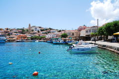 Emborio harbour, Halki island. The harbour and seafront at Emborio on the Greek island of Halki on June 5, 2010 Stock Image