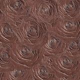 Embossed abstract rose flowers. Embossed ornate design of rose flowers on a burgundy background for a card or wallpaper Stock Photography
