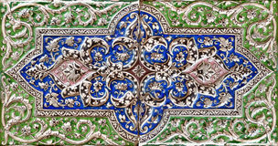 Embossed colorful Old Persian Tile Stock Image
