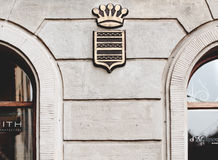 Embossed Concrete Crown With Shield Wall Art Stock Images