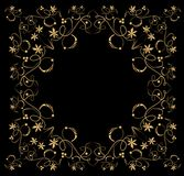 Embossed filigree golden frame on black background. Classic vintage patterns with flower, swirl and leaf shapes, horizontal and vertical symmetric Stock Photo