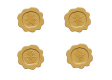 Embossed gold christmas seals Stock Photo