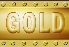 Embossed gold metal plate Royalty Free Stock Images