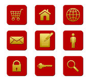 Embossed Golden Web Icons Stock Photography