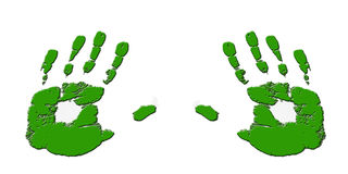 Embossed green hands. Embossed green hand-prints against a white background Stock Photo