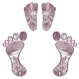 Embossed human footprint Royalty Free Stock Images
