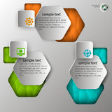 Embossed infographics in 3 steps Stock Images