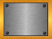 Embossed metal plate a. Shiny brushed embossed metal surface Stock Photos